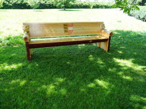 Holz Sitzbank massiv mit Rinde