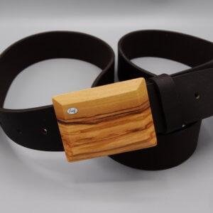 Ledergürtel schwarz/breit mit Holzschnalle Olive