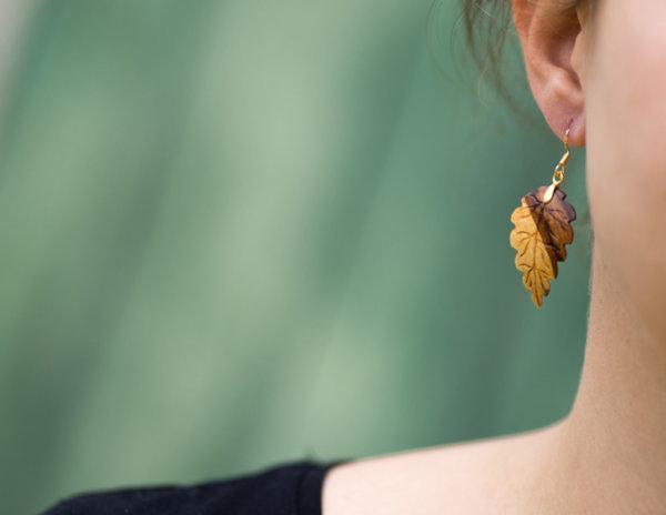 Ohrringe aus Pflaumenholz 585 Gold