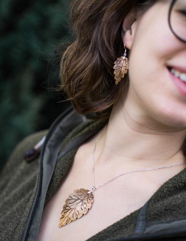 Ohrringe und Anhängerset Nussholz 925Sterlingsilber