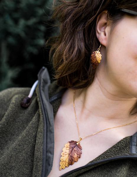 Ohrringe und Anhängerset Pflaumenholz 585Gold