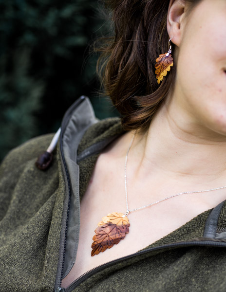 Ohrringe und Anhängerset Pflaumenholz 925Sterlingsilber