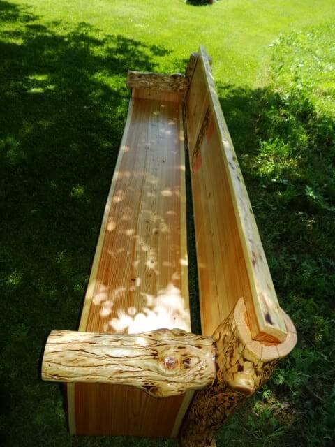 Sitzbank aus Lärchenholz mit Stecksystem