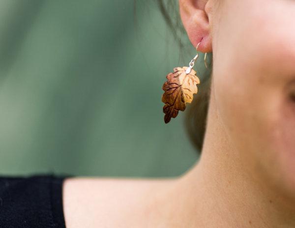 federleichte Ohrringe aus Pflaumenholz 925 Sterlingsilber