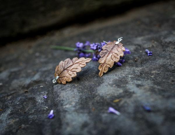 handgefertigte Ohrringe aus Nussholz 925 Sterlingsilber