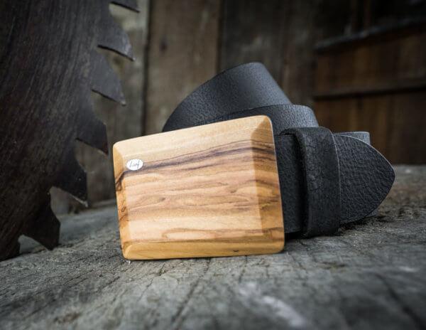 Ledergürtel mit Oliven Holzschnalle breit