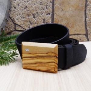 Ledergürtel mit Holzschnalle Olive