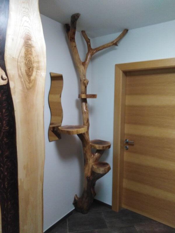 Baumstamm mit Baumscheibenablagen