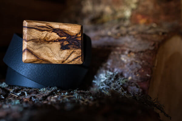 Ledergürtel mit Holzschnalle alte Eiche