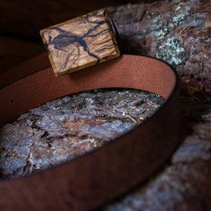 Ledergürtel mit Holzschnalle Oak